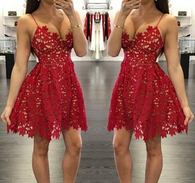 Pretty red lace prom dresses,short prom dress,homecoming dress