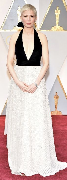 Michelle Williams wore a custom Louis Vuitton Two-Tone Gown Featuring a Velvet Top and a Sequin-Embroidered Skirt complete with  Louis Vuitton High Jewelry / Oscars 2017