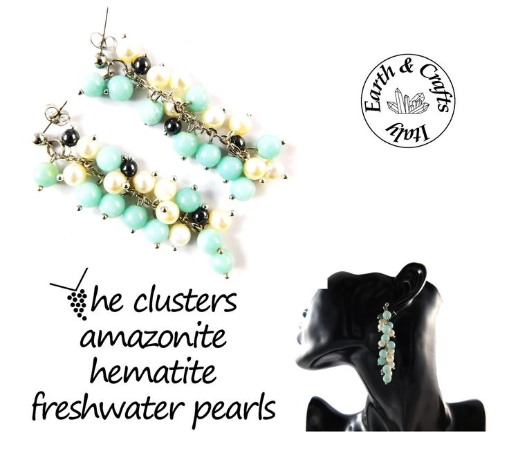 The clusters - Orecchini a grappolo – perno a pallina color argento - 18 pietre in amazzonite e 6 in ematite - 16 perle d'acqua dolce (#227) di EarthandCraftsItaly su Etsy