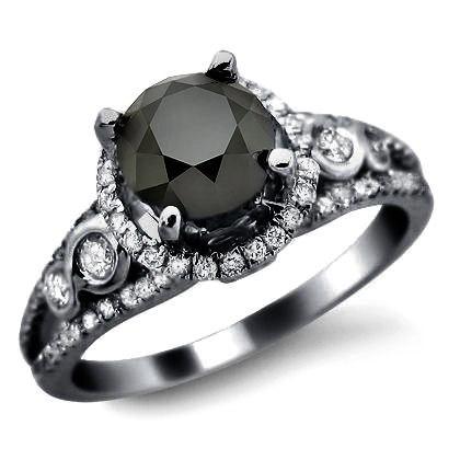 1.95ct Black Round Diamond Engagement Ring 14k Black Gold. $1,395.00, via Etsy.