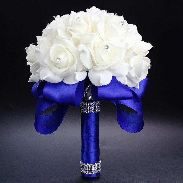 Elegant Royal Blue Purple Red Fuchsia Rose Artificial Bridal Flowers Bride Bouquet Wedding Bouquet Crystal Silk Ribbon