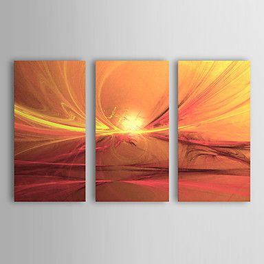 Hand-painted Abstract Oil Painting with Stretched Frame - Set of 3 - USD $ 109.99