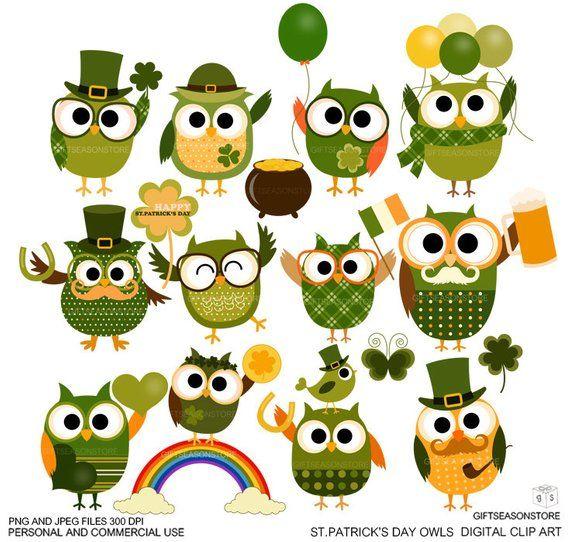 St Patrick S Day Owls Digital Clip Art For Personal And Etsy In 2021 Digital Clip Art Owl Clip Art Clip Art
