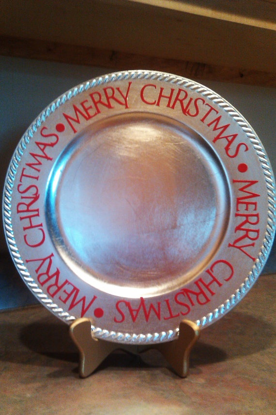 Items similar to Decorative Charger - Christmas Decoration on Etsy & 132 best CHARGER PLATES images on Pinterest | Charger plates Vinyl ...