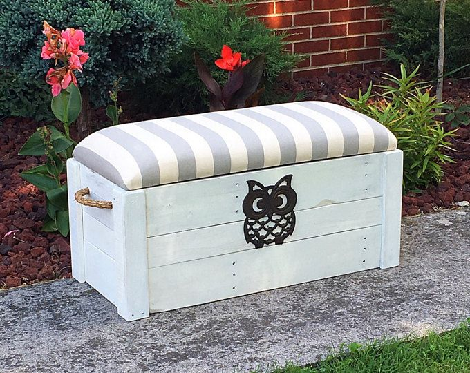 "Hope chest- Toy box - White distressed paint - Entryway bench - Storage bench - Storage Chest - 34""x15""x18""- The Painted Pioneer"