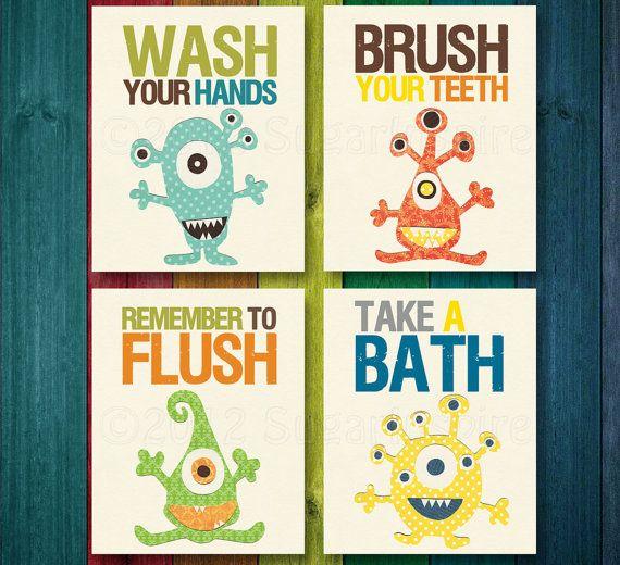 Set of Four 8x10 Prints - Bathroom Nursery Art Print Set, Kids Bathroom Decor, Wash,Flush, Brush, Bath, Yellow, Grey, Blue, Orange. $49.95, via Etsy.