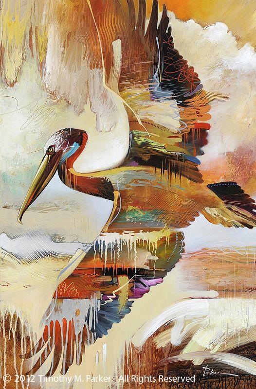 "Abstract Bird Painting, Contemporary Art, ""Single Pelican"" Artist Tim Parker - Art2D Gallery, Modern Art Original Paintings and Fine Art Prints"