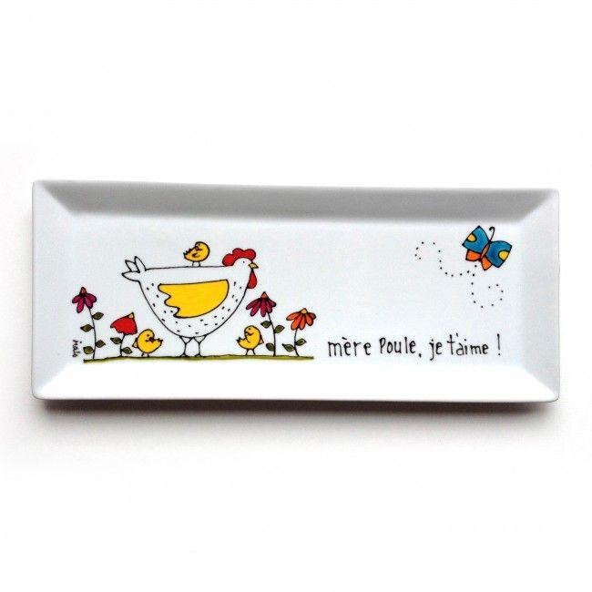 Un plateau de service en porcelaine poule pour notre maman d'amour / mère poule - peint à la main par l'artiste peintre du Québec Isabelle Malo  / cadeau pour l' amour et l'amitié - assiette décorative - poussin - fleurs - papillon - Handmade ceramic painting - decorative chicken plate - friendship