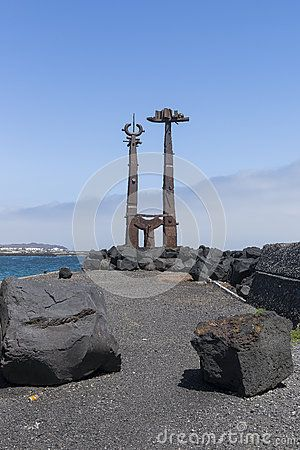 Monuments in Costa Teguise Town , Lanzarote , Canary Islands in Spain. Europe