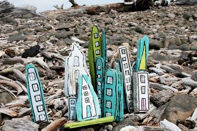 "DIY driftwood city...oh my, oscar would love this as a backdrop for playing ""cars"" and driving his little tin cars around the handpainted city"