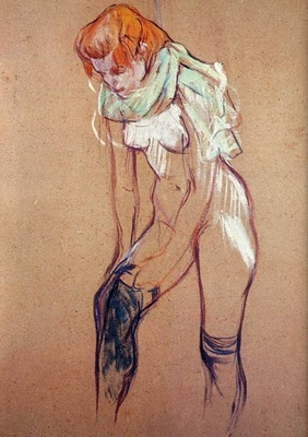Woman Putting on Her Stocking - Henri de Toulouse-Lautrec. -  A curvy beautiful figure! No one likes a bone but a DOG!