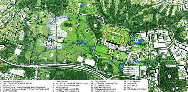 LEppävaaran urheilupuistossa on tekeillä muutakin kuin Huipun rakentaminen. Huippu sijaitsee hiukan vasemmalle numerosta 12. Lähellä on esimerkiksi maauimalan työmaa. Arkkitehtuuritoimisto Kouvo & Partanen Leppävaaran urheilupuiston yleissuunnitelma (2002)