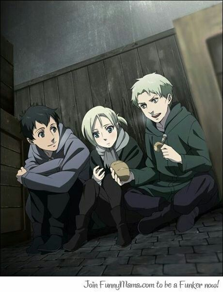 Bertholdt Hoover, Reiner Braun and Annie Leonhart. How cute. But not so much after shifting into a titan, eh?
