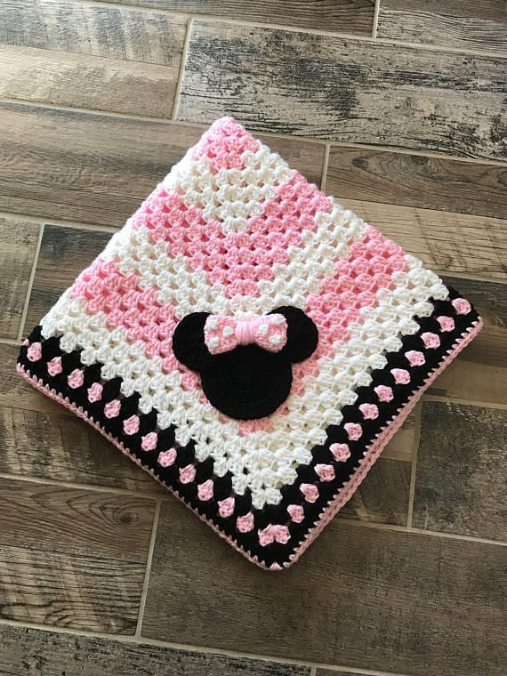 Hand-crocheted blanket with hand-made appliqué! This blanket is made with the utmost detail and attention given to make sure that whoever receives it will be madly in love with it! This blanket is perfect for newborn size, and measures 30 x 30. It is machine washable, though its