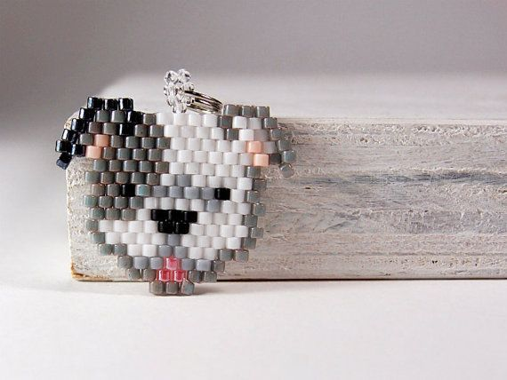 Staffordshire Bull Terrier Charm, Delica Seed Beads - Brick Stitch
