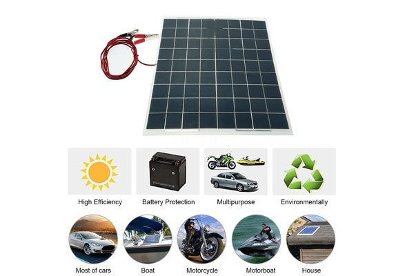 30w 12v Semi Flexible Solar Panel Device Battery Charger Suitable For Small Power Appliances Emergency Lights Advertising Lights Traffic Lights Home Lights Elec