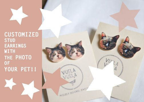 Cant get enough of your pet? carry them everywhere with this custom made VuelaVuela earrings! Amazing and unique custom made earrings with the photo