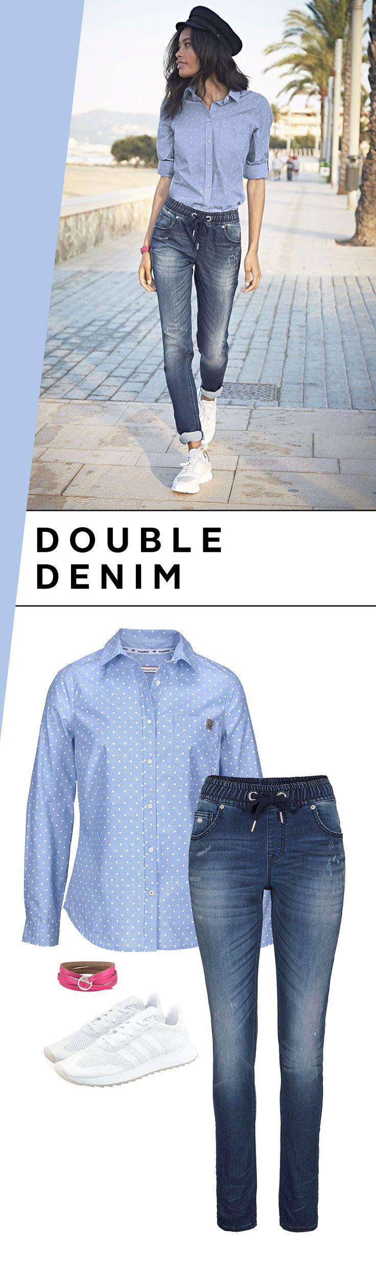 Mit Double-Denim in den Frühling! Der angesagte Jeans-Jeans-Look ist wie für die ersten warmen Sonnenscheintage gemacht: Zur bequemen Jogg-Pants trägst du die Hemdbluse im Allover-Pünktchen-Muster. Ein echter Frühlingskracher von KangaROOS!