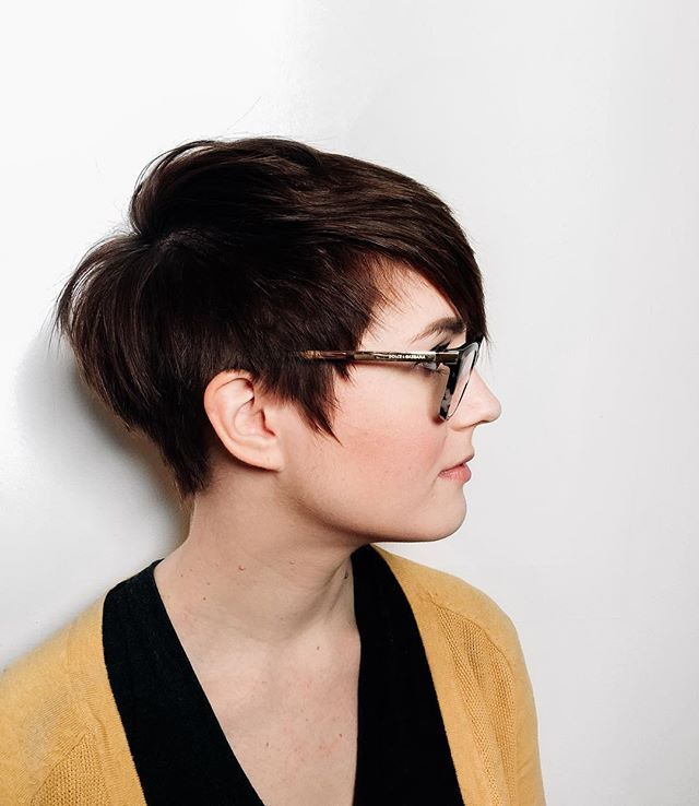 Apparently we're all about the short hair now a days. Danielle did this cute haircut a while back on Amy and we absolutely love it. With an undercut around the entire bottom half of the head allowing the hair on top to fall over she's trendy, yet not too extreme. This adds the perfect shape for the pixie cut. #CUTNJ