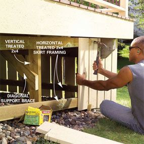 rebuild rather than replace old deck.  Also - how to install skirting