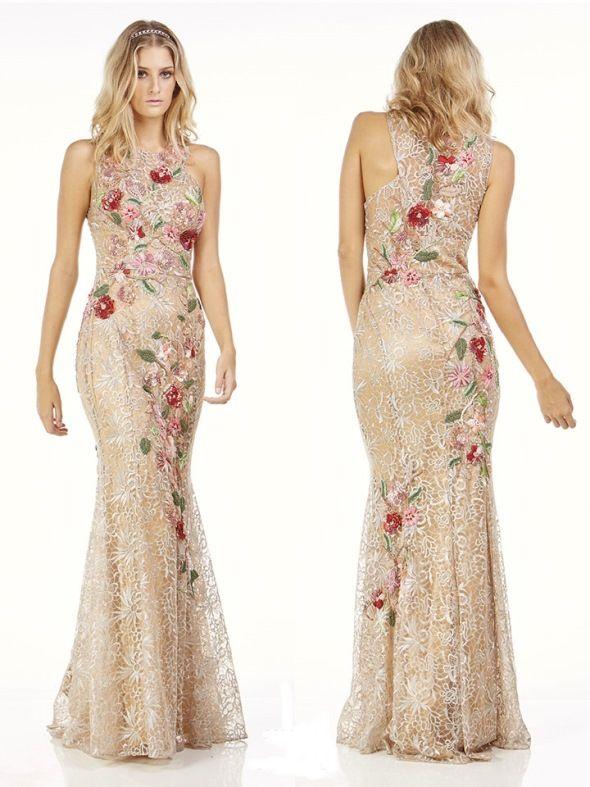 vestido de festa bordado linha floral
