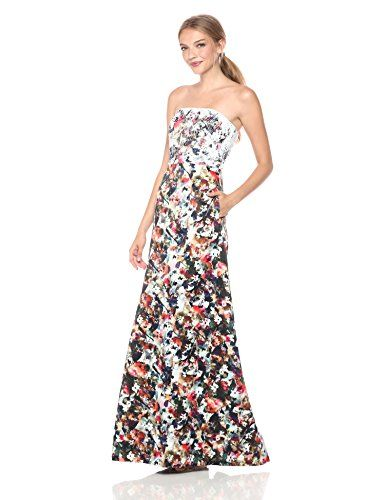 Ml Monique Lhuillier Women S Strapless Gown Fl Confe Dresses Online Elegant