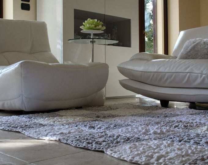 Modern White And Gray Square Rug For A Living Room Space. Beautiful  Textured Stitches.