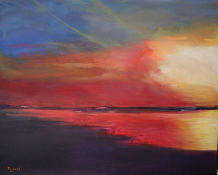 Sunset, 80 x 100 cm, Öl auf Lw,  www.roswitha-schablauer.at