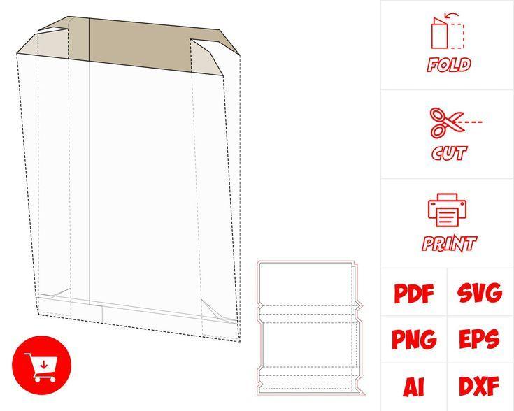 SVG de bolsa de papel, SVG de plantilla de caja, plantilla de caja de regalo, pl…