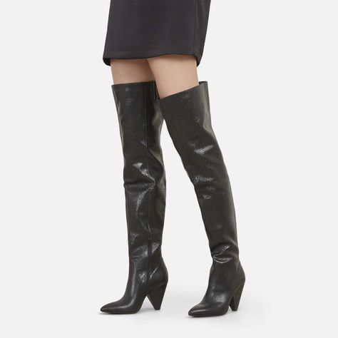 cdd43107fd4c Galway Over the Knee Slouch Boot with Cone Heel, BLACK | clothes and ...