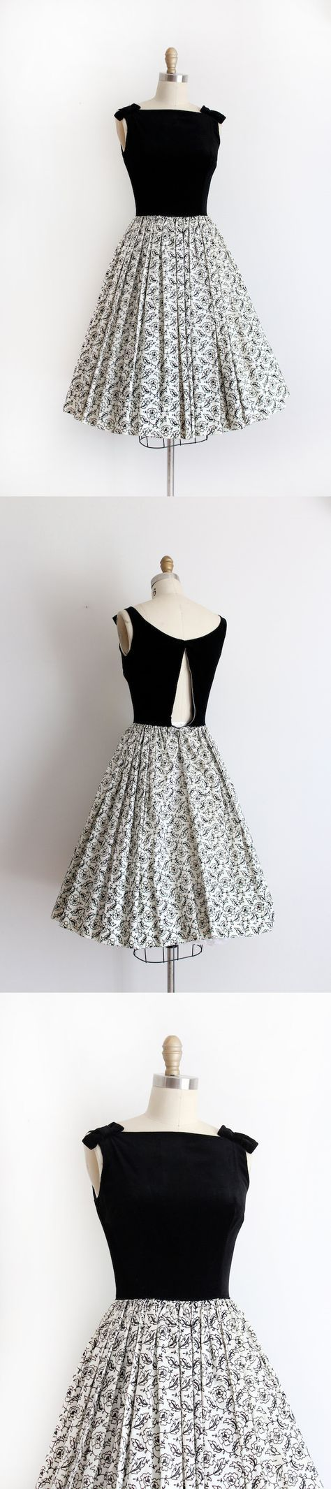 Party dress from the late 1950s. This dress features a black velvet bodice with cute bows over the shoulders, a fitted waistline, and a full skirt in acetate with velvet. Label: Candy Jones, California; metal zip down back. B32W22L41in. €67,88