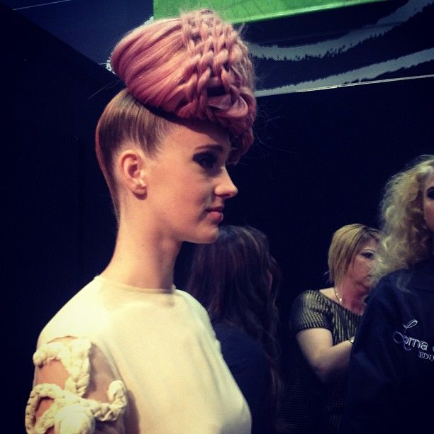 Backstage of Lorna Evans' braiding demo at Salon Melbourne