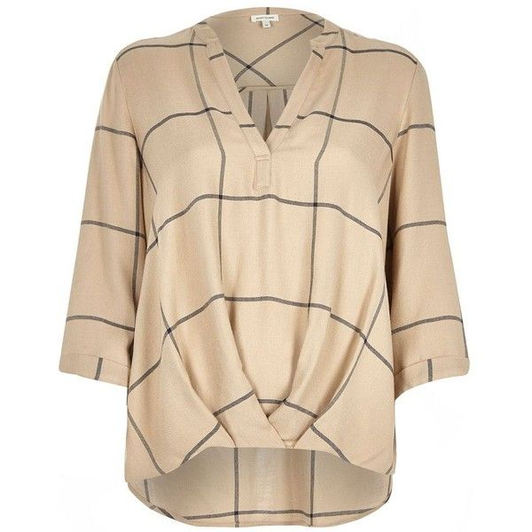River Island Beige check wrap front V-neck shirt ($68) ❤ liked on Polyvore featuring tops, blouses, beige, blouses / shirts, women, checked shirt, shirts & blouses, ruched top, tall tops and beige shirt