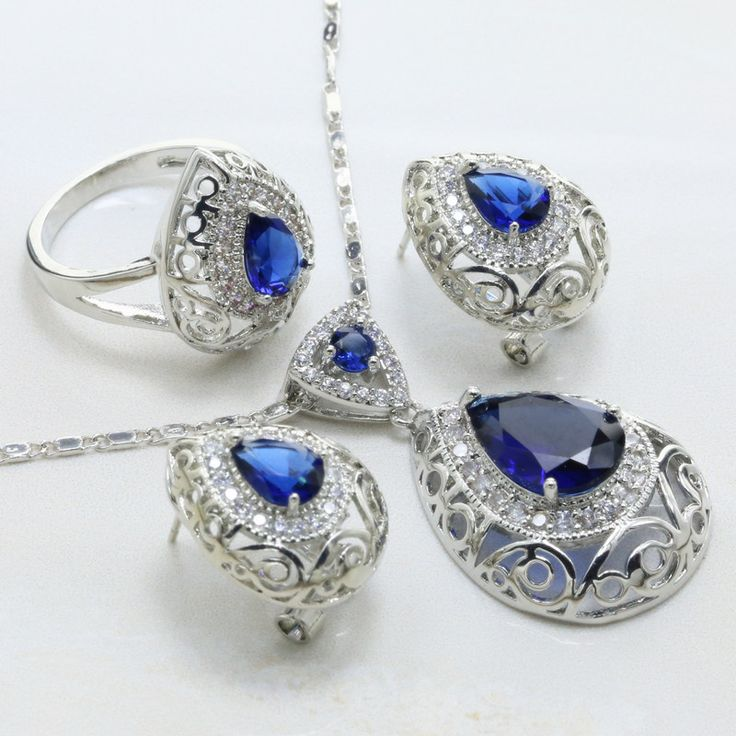 Blue Drop Shape Crystal Earrings / Necklace / RING 925 Mark Silver Plated Jewelry Sets - free shipping worldwide