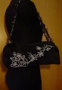 Black velvet bag, whit hand made motive