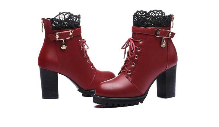 A cute pair of fashionable Platform Boots with a touch of lacy elegance. These boots are available in both red and black and available in most sizes.