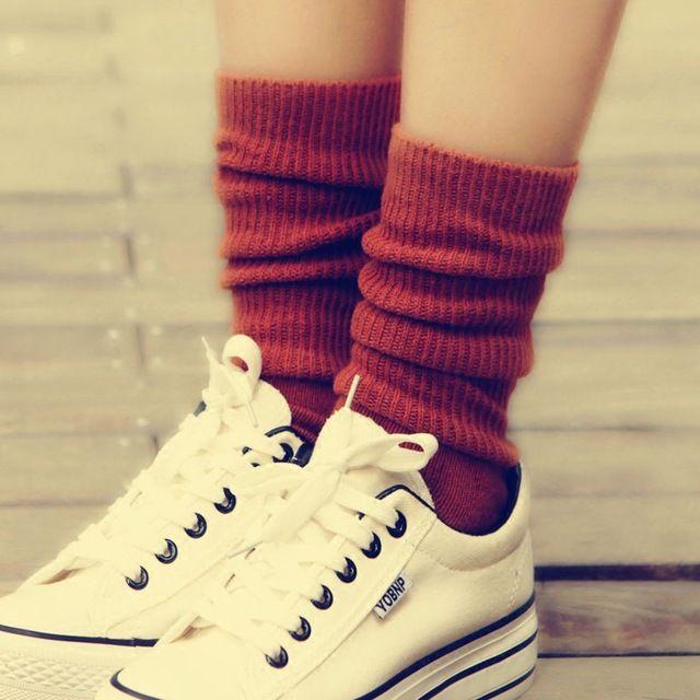 2016 Новая Осень Зима Утолщение Чистый Цвет Женщин Носки Шерстяные Носки Хлопок Толстые Свободные Носки Сваи