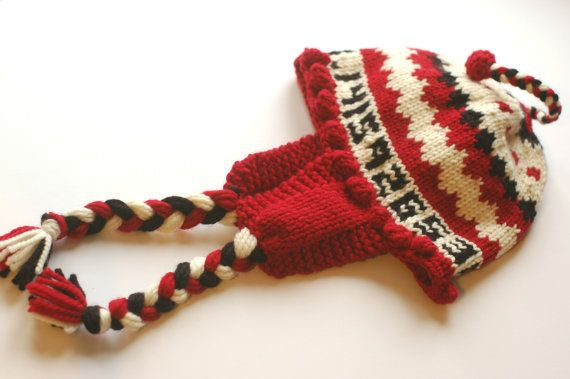 Cherry Pi Chullo for Big Heads (23 to 24 inch size) - Earflap Hat - Pi Day Funny Hat - Geeky Gift