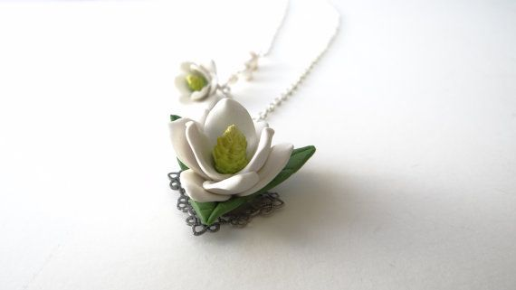Southern Magnolia Necklace, Flower Necklace, Southern Wedding Jewelry Theme, Mother's Day Gift on Etsy, $30.00