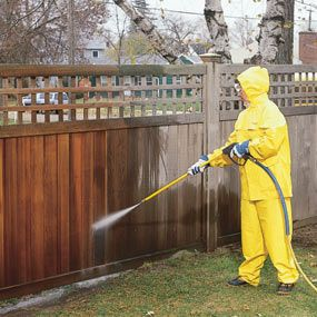 Ugh, I'm so overdue on fence maintenance. Maybe I can get this in before it gets too cold // Use a power washer to clean the wood.