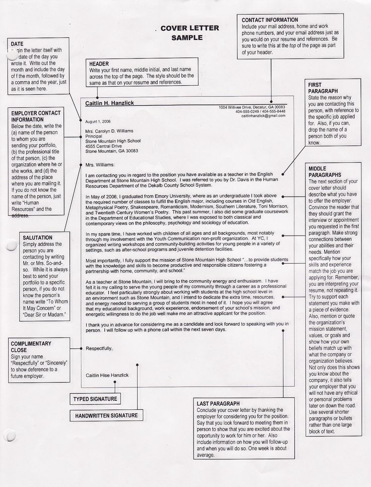 proper format for cover letter