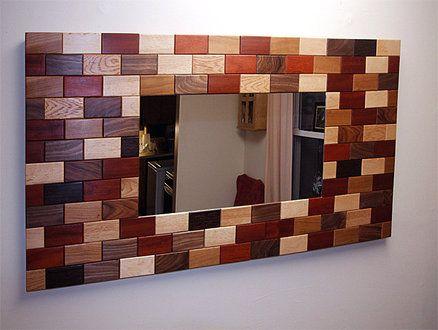 "Wooden ""tile"" mirror frame"