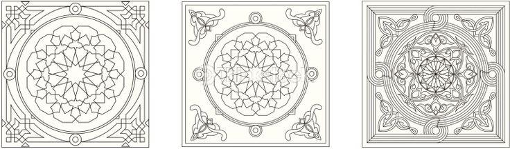 Vector Art: Egyptian Tent Fabric-Line Art Style 2