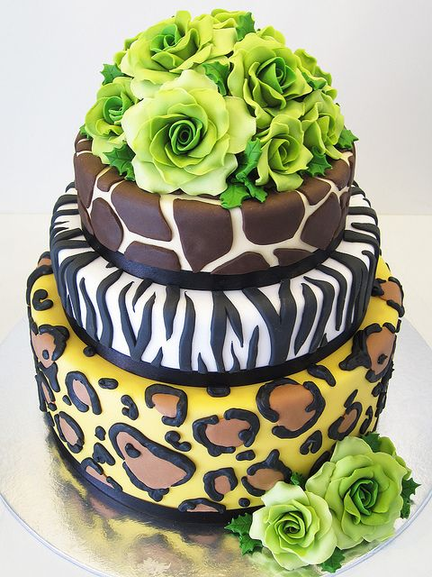 """Watching """"Say Yes To The Dress"""" and saw an awesome animal print wedding cake that Brianna said she wanted for her wedding. While searching online for the cake (didn't find it) I thought it would be a great idea for her Sweet 16 or Quinceanera(whichever we throw for her)"""