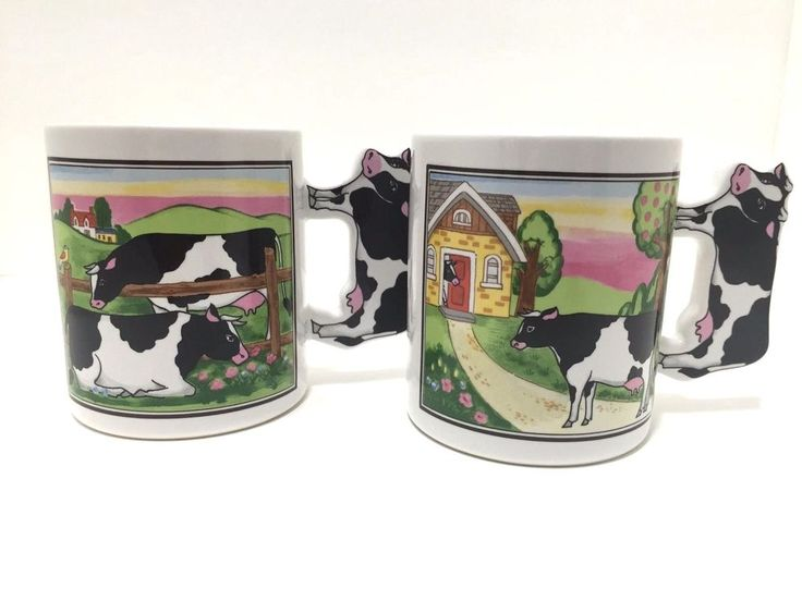 Handles are in shape of a cow. Set of 2 Farm Scene with Cows Coffee/Tea Cup. | eBay!