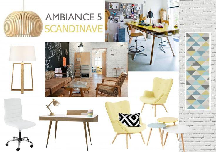 planche ambiance bureau style scandinave briquette blanche papier peint bois clair. Black Bedroom Furniture Sets. Home Design Ideas