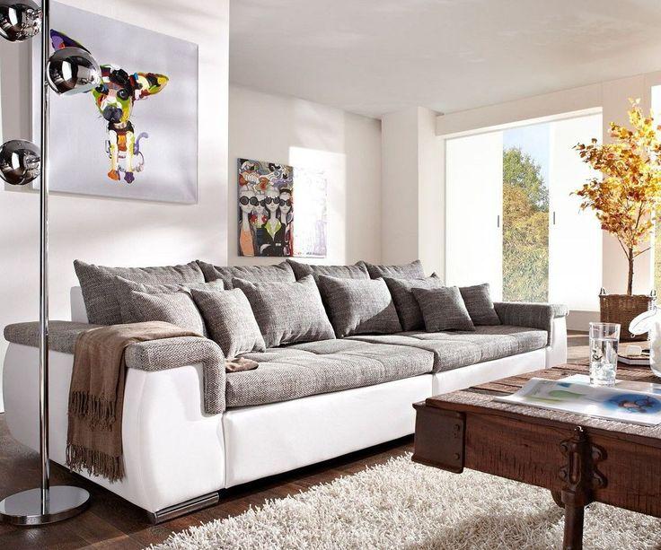 DELIFE Sofa Navin 275x116 Cm Hellgrau Weiss Couch Mit Kissen Big Sofas Jetzt Bestellen Unter