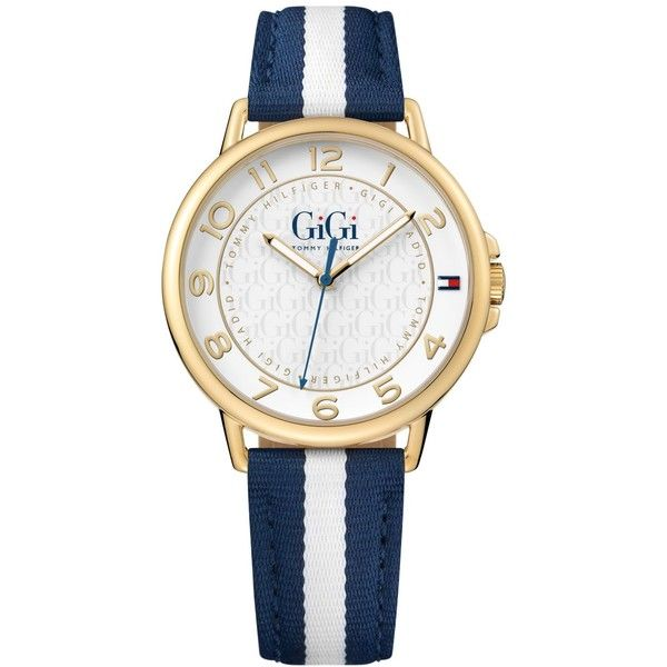Tommy Hilfiger Gigi Hadid Women's Navy & White Stripe Grosgrain Strap... (1.430.220 IDR) ❤ liked on Polyvore featuring jewelry, watches, tommy hilfiger jewelry, tommy hilfiger watches, sporty watches and tommy hilfiger