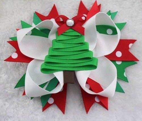 "Girls Boutique Christmas Hair Bow Sale Handmade 5"" Green Tree"