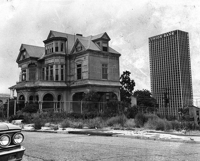 Los Angeles, CA - Bunker Hill 1969. One of the very last homes in downtown L.A. before it was swallowed up by highrises...like that one, over there.